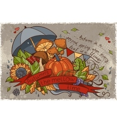 to the autumn season of doodles and vector image