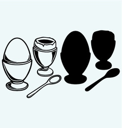 Boiled egg breakfast vector image