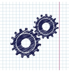 Cogwheel icon epshand drawn0 vector