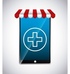 Smartphone and cross icon medical and health care vector