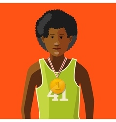 African athlete with golden medal for first place vector