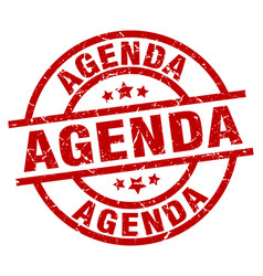 Agenda round red grunge stamp vector