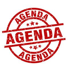 agenda round red grunge stamp vector image vector image