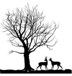Animal deer over tree forest landscape wild vector