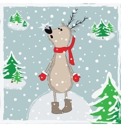 Cartoon reindeer in winter forest vector image