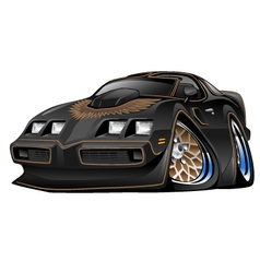 Classic American Black Muscle Car Cartoon vector image