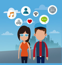 Couple social network urban background vector
