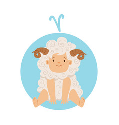 Cute little boy as aries astrological sign vector