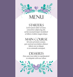 cute wedding card menu template with hand-drawn vector image