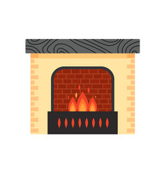 different colorful home fireplace with fire vector image vector image