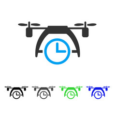 Drone clock flat icon vector