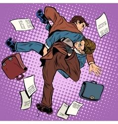 Fight men businessmen vector image