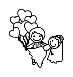 Figure married couple with red heart bombs vector