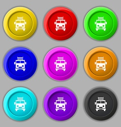 Fire engine icon sign symbol on nine round vector