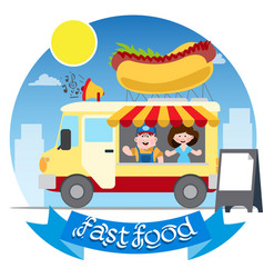 Flat design of fast food car shop truck icon with vector
