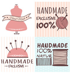 handmade needlework craft badges sewing banners vector image