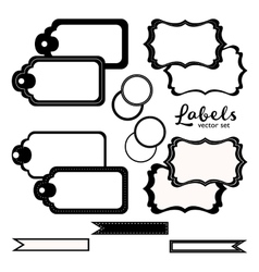Labels set black and white tags vector