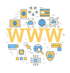 Linear concept of internet with letters www vector