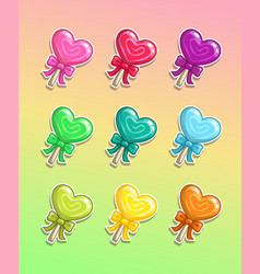lollipop with bow colorful icons set vector image
