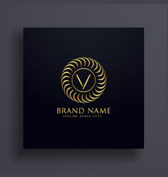 luxury letter v logo concept design in golden vector image