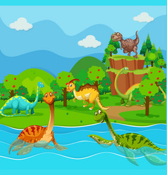 Many dinosaurs in the lake vector