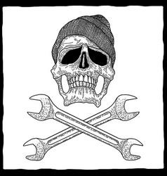 Mechanic skull poster vector