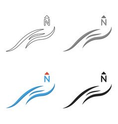 Northern wind icon in cartoon style isolated on vector