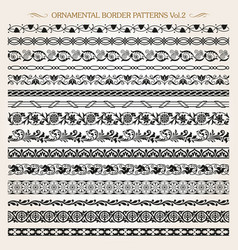 ornamental border frame line vintage patterns 2 vector image