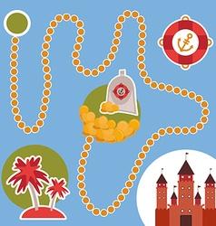 Pirate treasure island castle game for preschool vector
