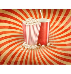 Retro background with Popcorn and a drink vector image vector image