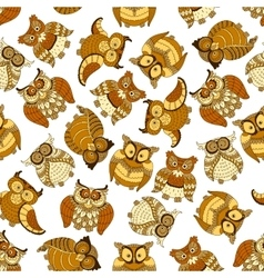 Retro seamless cute owls birds pattern background vector image