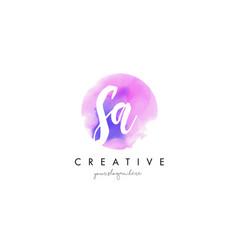 Sa watercolor letter logo design with purple vector