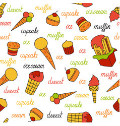 Seamless pattern of ice cream and cupcakes vector