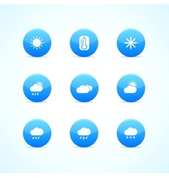 Set of blue glossy weather icons vector image