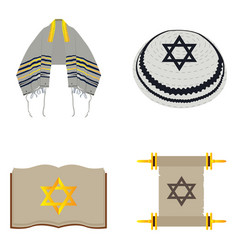 Set of jewish objects vector