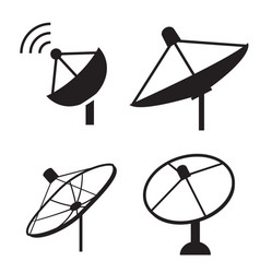 Set of silhouette satellite dish icon vector