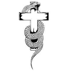 Snake and cross vector