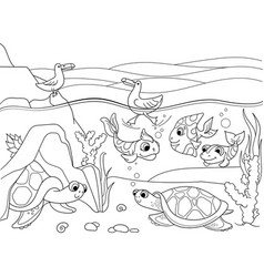 wetland landscape with animals coloring for vector image