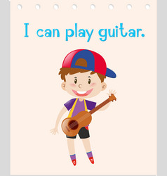 Word card with boy playing guitar vector
