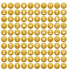 100 beauty salon icons set gold vector