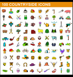 100 countryside icons set cartoon style vector