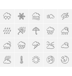 Weather sketch icon set vector image