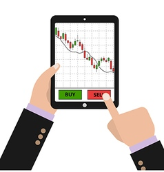 Hand holding tablet with forex stock chart vector image