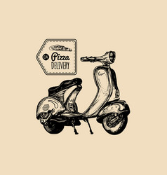 pizza delivery scooter sketched retro vector image