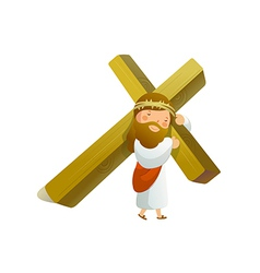 Close-up of jesus christ holding cross vector