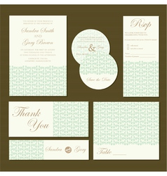Wedding invitations set green vector