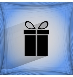 Gift web icon on a flat geometric abstract vector