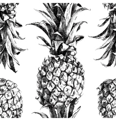 Hand drawn pineapple seamless vector