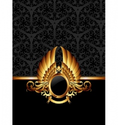Ornate frame with golden label vector