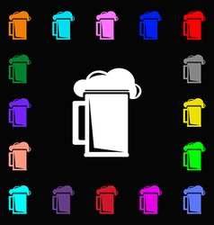 Glass of beer icon sign lots of colorful symbols vector